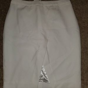 ASOS White Pencil Skirt Front Split Size 6